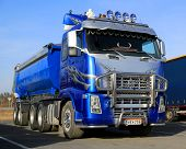 Blue Volvo Asphalt Truck