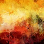 art abstract acrylic background in yellow, white, red and green colors
