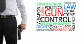 stock photo of gun shot  - Man in suit with a gun in his hand next to gun control word cloud - JPG