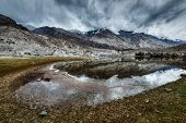Sacred mountain lake Lohan Tso in Himalayas. Nubra valley, Ladakh, Jammu and Kashmir, India