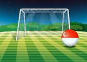 Illustration of a ball near the net with the flag of Singapore