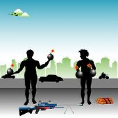 picture of terrorist  - Abstract colorful illustration with two terrorists standing in the middle of the street ready for action - JPG