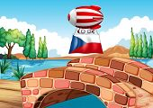 Illustration of a floating balloon with the Czech Republic flag