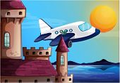 stock photo of yellow castle  - Illustration of an airplane near the castle on a white background - JPG