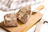 pieces of tasty halva on kitchen table