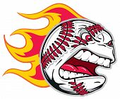 stock photo of fastpitch  - A Flamed Angry Baseball flying in the air - JPG