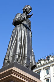 stock photo of florence nightingale  - Statue of the famous nurse Florence Nightingale in London. ** Note: Visible grain at 100%, best at smaller sizes - JPG