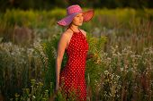 stock photo of beatitudes  - Elegant young woman in a hat among wildflowers at sunset - JPG