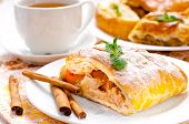 Slice Of Apple Strudel With Tea