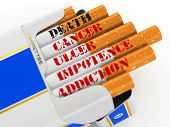 Smoking kills. Cigarette pack with text cancer and death. 3d