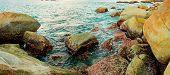 Coast Of Tropical Sea With Big Stones. Thailand, Phuket Island