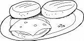 Outlined Burgers On Plate