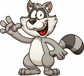 Cartoon raccoon. Vector clip art illustration with simple gradients. All in a single layer.