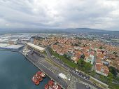 Aerial view on the largest port in Slovenia.