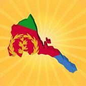 Eritrea map flag on sunburst illustration
