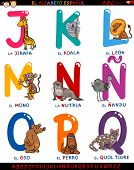 Cartoon Spanish Alphabet With Animals
