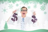 Geeky happy businessman holding bags of money against snowflakes and fir tree in green