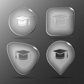 Graduation cap. Glass buttons. Raster illustration.