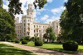 Famous white castle Hluboka nad Vltavou Czech Republic