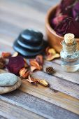 Beauty products on wooden surface
