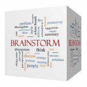 Brainstorm 3D Cube Word Cloud Concept