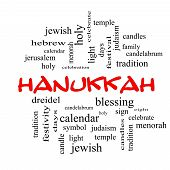 Hanukkah Word Cloud Concept In Red Caps