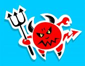 pic of trident  - Stylized devil with trident on a blue background - JPG
