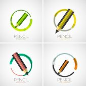 Pencil icon set, company logo, business symbol concept, minimal line style