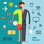 Illustration with character in the office and on vacation with icons set.