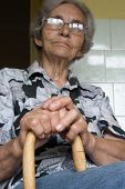 grandmother with stick