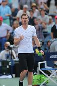 Grand Slam Champion Andy Murray celebrates victory after fourth round match at US Open 2014