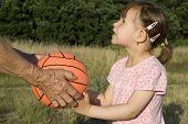 hands of garandmother and ball