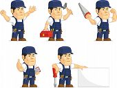 stock photo of garage  - A vector set of a male mechanic in several poses - JPG