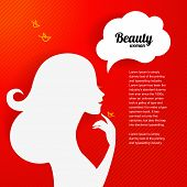 Applique background with beautiful girl silhouette