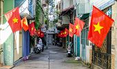 Houses decorated by Vietnam national flags in the Independence Day