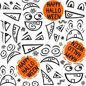 Funny scary faces messy autumn holiday seamless pattern with colorful halloween wishes on white