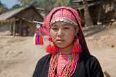 picture of hmong  - Hmong woman from Laos portrait in traditional national costume - JPG