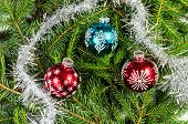 Three Christmas Balls With Silver Chain