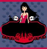 Halloween Invitation With Beautiful Witch Beautiful Female Vampire
