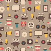 Seamless pattern of flat colorful movie design elements and cinema icons in flat style. Vector illus