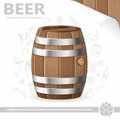 stock photo of drawing beer  - Beer Poster with Barrel of Beer Sheet of White Paper and Hand Drawing Icon vector isolated on white background - JPG