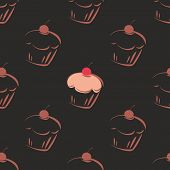Seamless vector dark pattern or tile texture with chocolate cupcakes, muffins, sweet cake