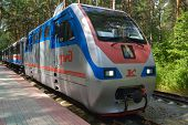 NOVOSIBIRSK, RUSSIA - AUGUST 20, 2014: Train on the station Zayeltsovsky park of Childrens railway. Built in 2005 for about $9 millions, it is one of the best children's railroad in Russia
