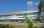 NOVOSIBIRSK, RUSSIA - AUGUST 20, 2014: Ice sports palace Siberia in a summer day. Built in 1964, the palace is the home rink for the hockey club Sibir, Continental Hockey League