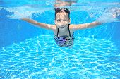 pic of swimming pool family  - Happy active underwater child swims in pool - JPG