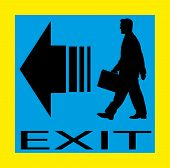 Exit emergency sign door with human figure, label, icon