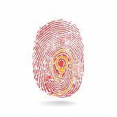 Creative Light Bulb Idea Concept With Fingerprint Symbol.