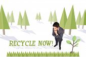 The word recycle now and thinking businessman touching his chin against forest with earth tree
