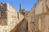 Tower of David and ancient walls in Old City of Jerusalem, Israel.