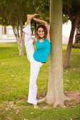 Flexible Woman At A Park